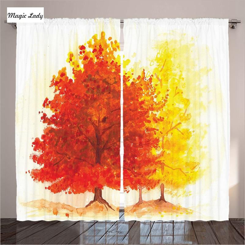 Tree Curtains Living Room Bedroom Fall Tree Color