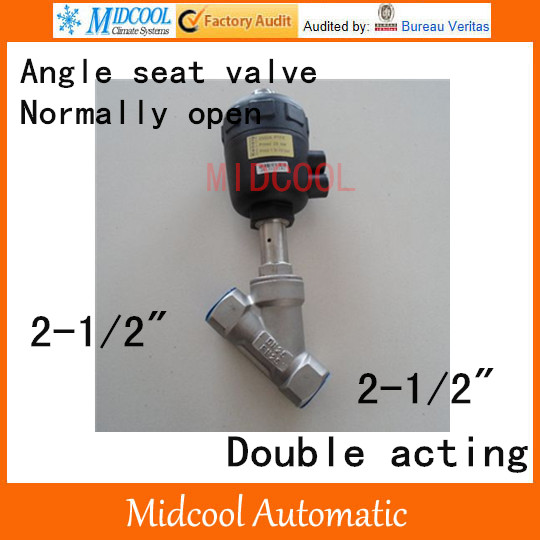 Pneumatic Stainless steel Angle seat valve 2-1/2 inch BSP DN65 double acting normally open high temperature free shipping actuator plastic angle seat valve dn65 2 1 2 inch normally close double acting high temperature ss304 body valve