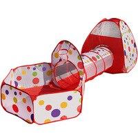 3 W 1 Dla Dzieci Namiot Indeksowania Rurociągu Ogromne Game Play House dziecko Grać Yard Basen z Piłeczkami Na Zewnątrz Kryty Niemowlęcym Kojcu Tienda Corralito