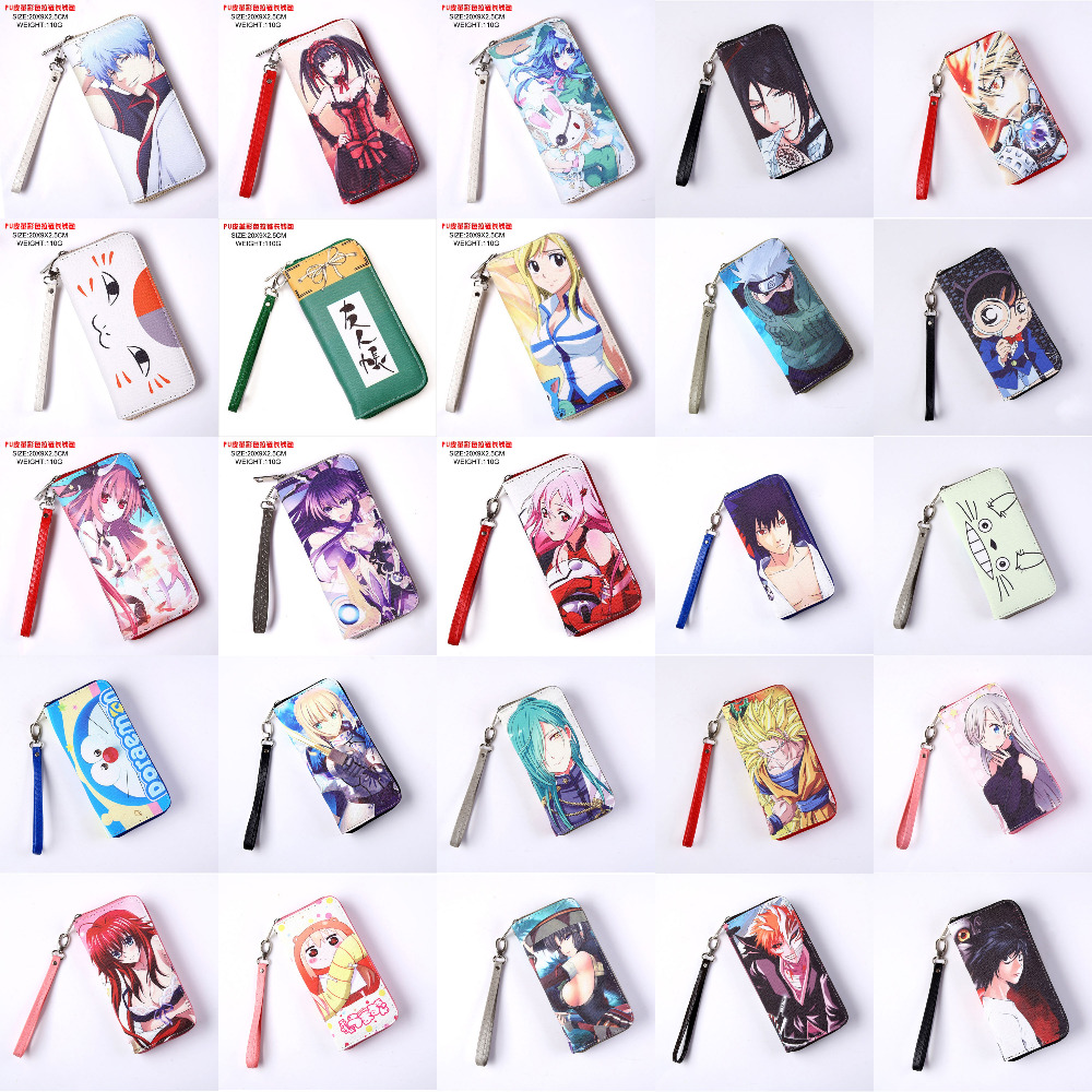 Anime Death Note/Bleach/High School/LoveLive/Fairy Tail/Date A Live/Hatsune Miku etc PU Long Style Purse/Wallet with Zipper japan anime death note wallet cosplay long leather pu zipper purse