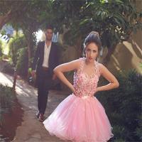 2016 Тюль аппликации розовый 8th Класс выпускного платья A Line Танк короткое выпускное платье для девочек vestidos graduacion ZZ185