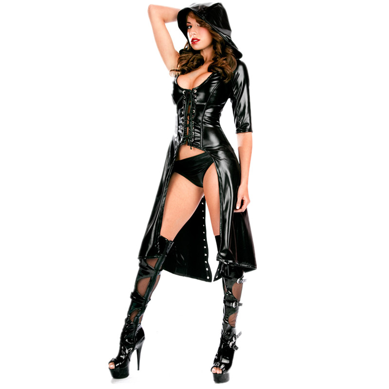 New Arrival Sexy Gothic Punk Fetish Black Latex Catsuit Faux   Leather   Costume PU Jumpsuit Woman one sleeves coat M7263