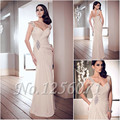 Elegante Longo Mãe Dos Vestidos de Noiva 2017 Plissado Com Frisado Sheer Voltar Vestido de Festa