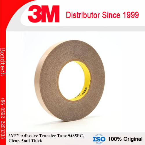 3M Adhesive Transfer Tape 9485PC Clear, 5 mil, 1 in x 60 yd 5 mil (Pack of 1) 3m positionable mounting adhesive 24 in x 50 ft clear 56824 dmi rl