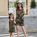 2016 new matching mother and daughter clothes outfits family clothing set sleeveless t-shirts+overalls for girls women
