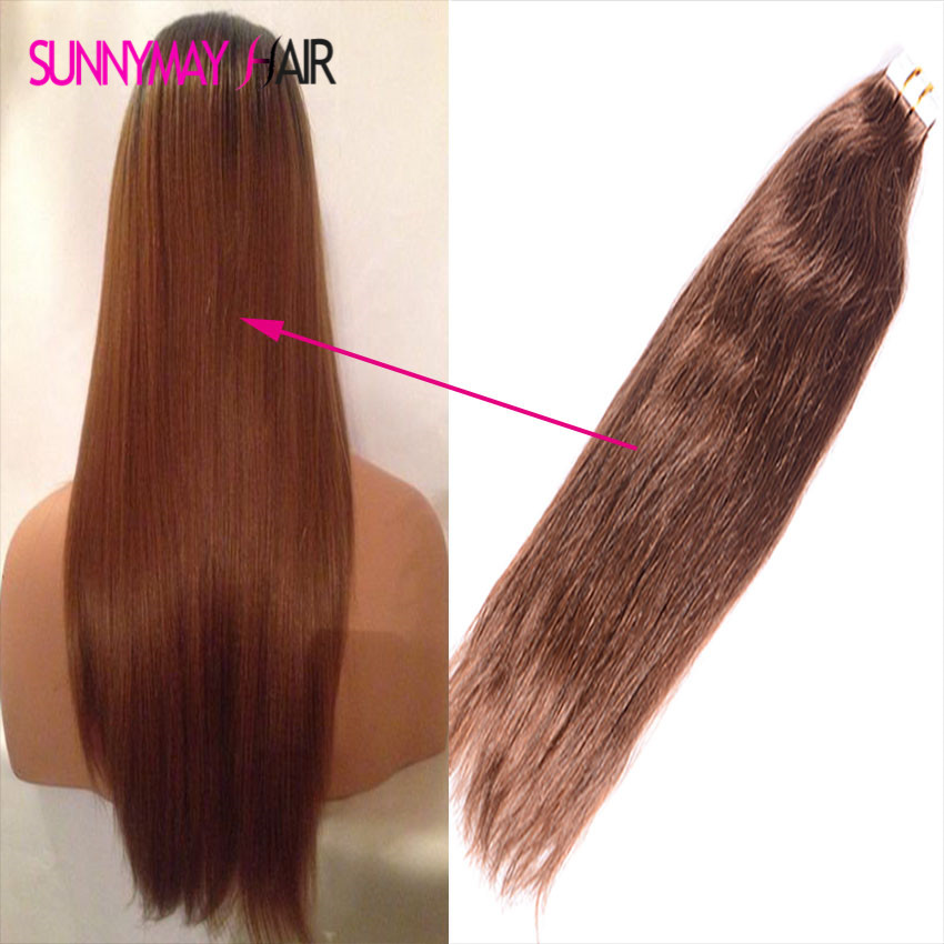 ФОТО Brazilian Virgin PU Tape Glue Weft Hair The Quality Is Best Silk Straight PU Weft Hair Extensions #4 Color Skin Weft In Stock
