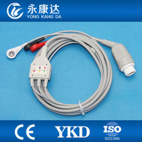 Compatibe 3lead AHA/Snap ecg cable for Mindray T5/T8 patient monitor, 12pins