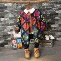 Estilo de europa Y América 2016 nueva abrigo de invierno niño fan de agitación la moda de tela con abrigo largo abrigo de niños 2-7años de Edad