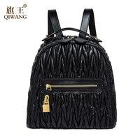 2016 Fashion Famous Design Backpack Sheepskin Women 100 Genuine Leather Bag Girls Travel Bag Lock Mochila