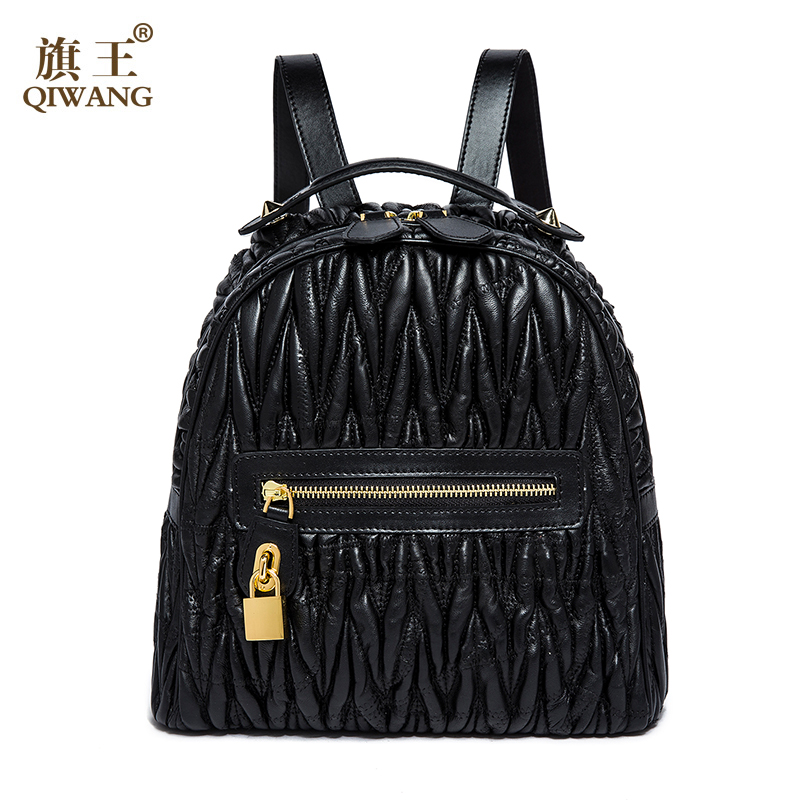 QIWANG Backpacks Fashion Top Quality Brand Lambskin Leather Backpack Famous Brand Ladies Cow Leather Backpack Female рюкзаки zipit рюкзак shell backpacks