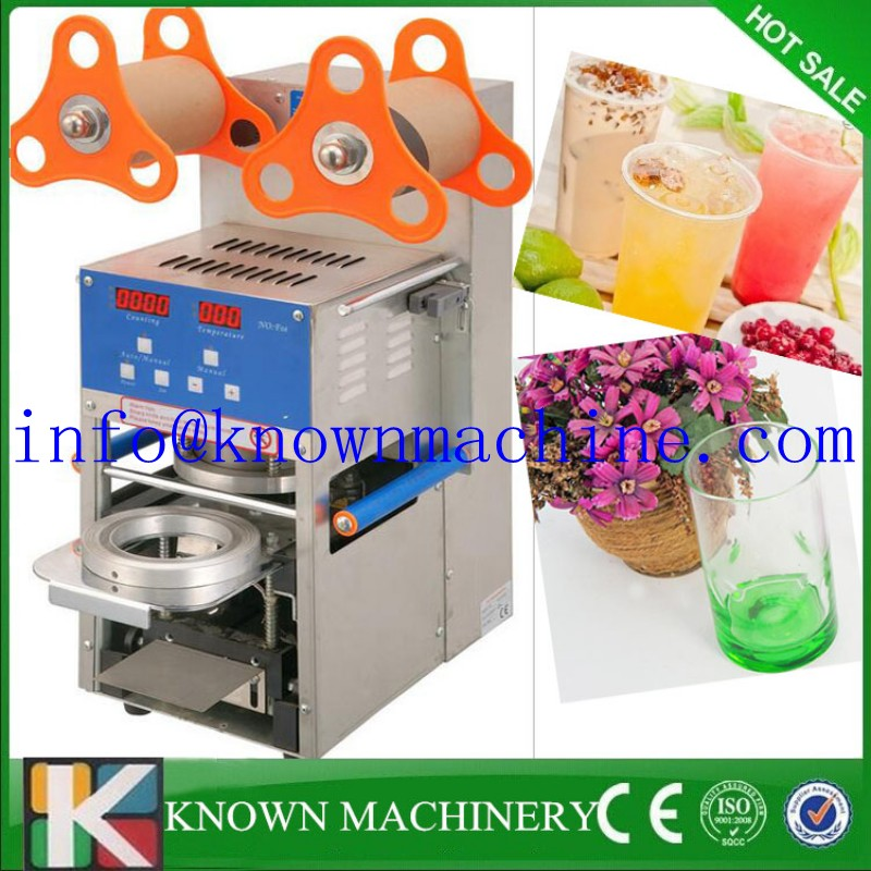 Hot sale commercial use 110V/220V Stainless steel Automatic digital boba tea cup sealing machine plastic cup sealer machine kw f01s commercial use digital manual fruit juice food plastic cup sealing packing machine for beverage