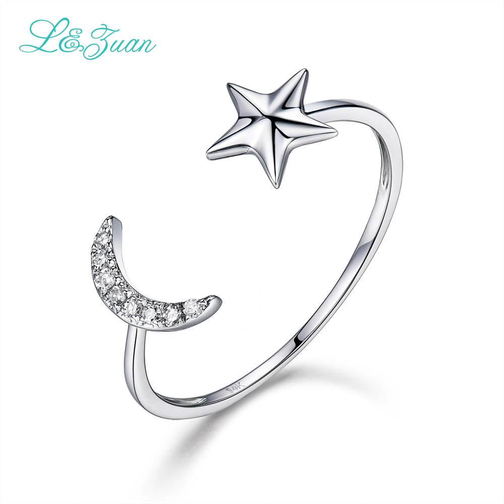 l&zuan White Gold Natural Diamond Jewelry Star&Moon Trendy Simple Rings For Women Fashion Party Fine Jewelry Wedding Gift 0017 2