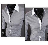 новые мужские рубашки простой белый стоит Doug мужчины рубашки с ди сырой, серый м ~ XXL