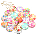 30Pcs Mix Flower Glass Cabochon 12mm Flatback Dome Cabochon Embellishments Findings Fit DIY Accessories Jewelry Making Supplies
