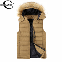 COOFANDY New Arrival Slim Man Vest 2015 Autumn Winters Hooded Cotton Padded Men S Vests Faux