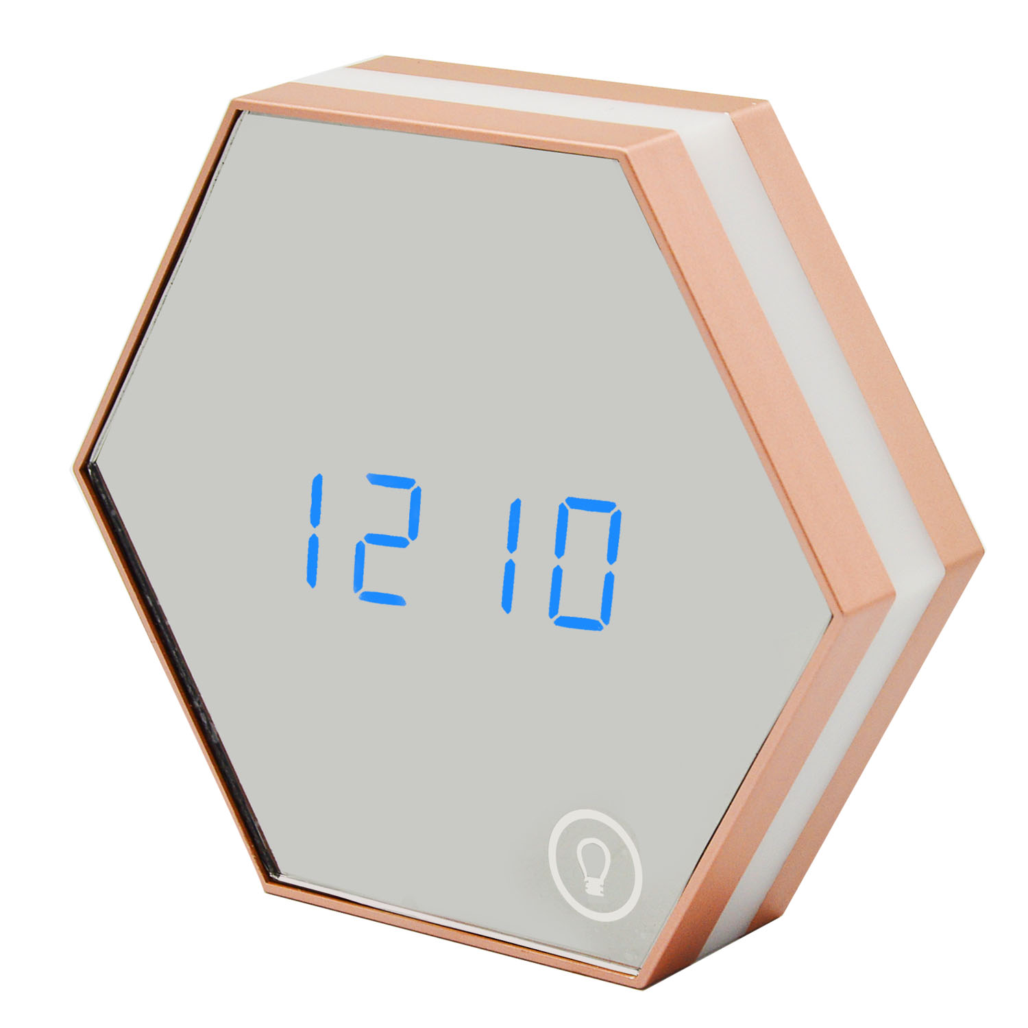 Toko Multifunction Electronic Alarm Clock Portable Hexagon Digital Mirror Alarm Clock Rechargeable Touch Led Night Light Wall Lamp Display Time Temperature For Desk Living Room Children *d*lt Bedroom Champagne Color Intl Terlengkap
