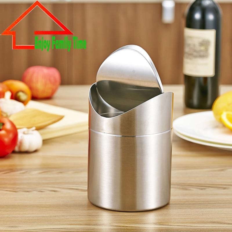 Высокое качество 1.5l дома небольшой переработки bin качели крышкой Кухня таблице аккуратный Нержавеющаясталь мусорная корзина может отходо... ...