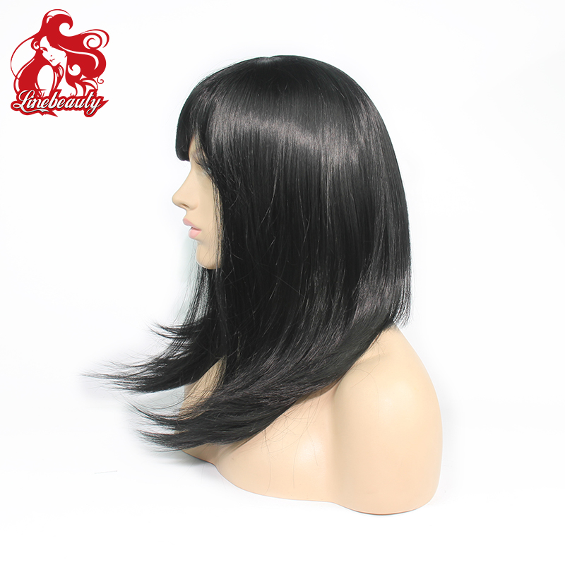 New Fashion Women's Half baybay hair Wig Long Synthetic Hair Wigs Cheap Black Straight Wig Heat Resistant от Aliexpress INT