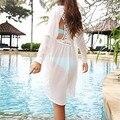 2016 Más Nuevas Mujeres Del Verano Blusas Blancas Dama Sexy Traje de Baño de Ganchillo Playa Del traje de Baño Ropa de Playa Más Tamaño M5317