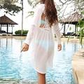 2016 Mais Novo Verão Mulheres Blusas Brancas Senhora Sexy Maiô de Crochê Vestido de Praia Swimwear Beachwear Plus Size M5317
