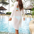 2016 Newest Summer Women White Blouses Lady Sexy Bathing Suit Crochet Swimwear Beach Dress Beachwear Plus Size M5317