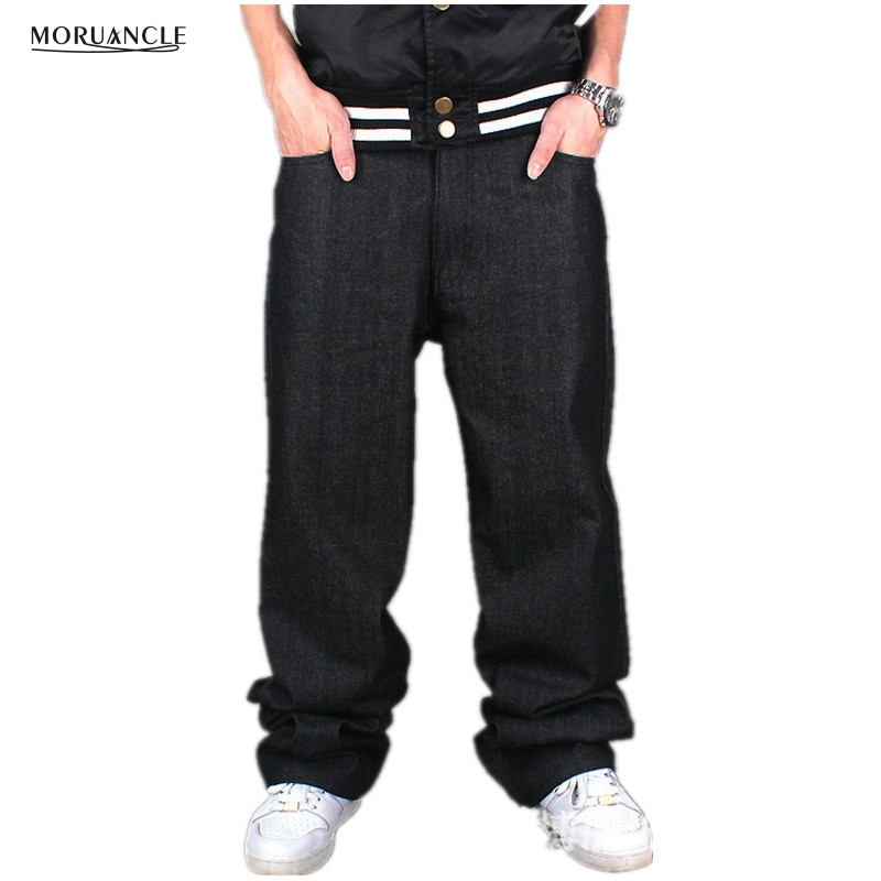 MORUANCLE Fashion Plus Size Male Baggy Jeans Joggers Loose Hip Hop Denim Pants Street Dance Skateboard Trousers For Big And Tall