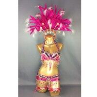 Бесплатная доставка Горячая распродажа! Сексуальная Samba Rio карнавальный костюм Новый живота Танцевальный костюм с ярко розовый Цвет перо го