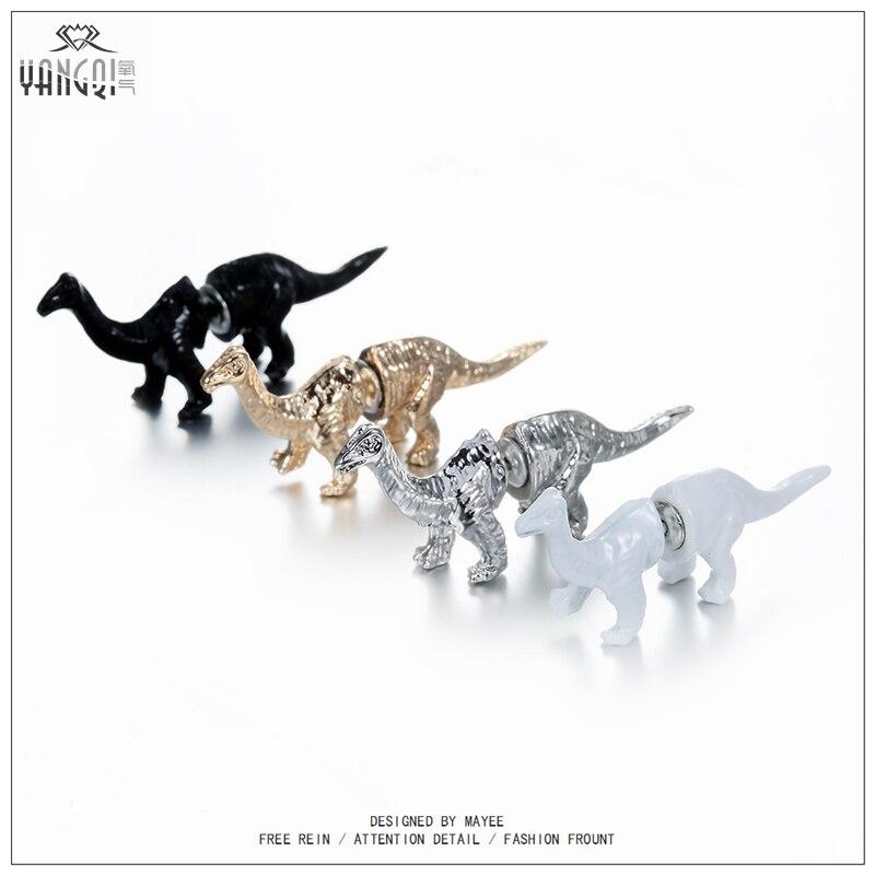 2016 Animal Steampunk 3D DinosaurI Stud Earrings Imitation Diamond Eye Punk T-REX Tyrannosaurus Dragon Ear Stud 1PCS