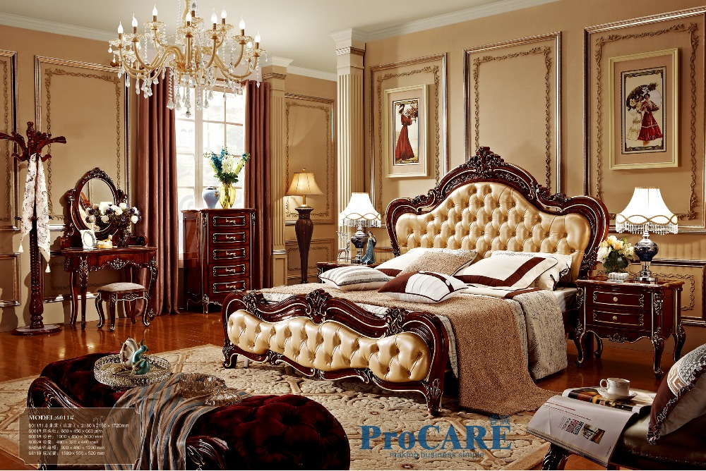 Canadian style luxury solid rose wood Bedroom furniture sets with 1.8M real  leather bed,nightstand,5 drawer chest,dresser-6011
