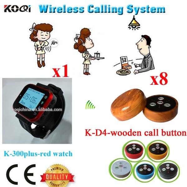 Création de système d'appel de serveur de téléavertisseur-fournisseur professionnel avec l'équipement moderne de Restaurant de mode de conception (1 montre + 8 bouton d'appel)
