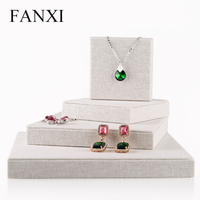 FANXI Creamy White all Matched Jewelry Set Display Wrapped with Linen Fabric Rack for All Jewelry for Jewelry Counter Holder