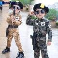 2016 Outono Meninos Roupas de Bebê Menino Estilo Militar de Camuflagem Crianças Camisetas Calças Camo Crianças Uniformes Roupas Sol Descendentes