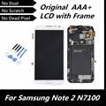 100% probó bueno Original del LCD para la galaxia nota2 GT-N7100 blanco de Color LCD + pantalla táctil digitalizador con marco de montaje