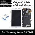 100% testado boa LCD Original para Galaxy GT-N7100 Note2 branco LCD + tela de toque digitador com montagem de quadro
