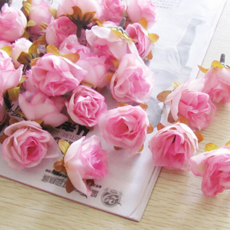 100 PCS/PACK fleurs artificielles thé Rose à la main artificielle Rose fleur bonquets pour la décoration de la maison de mariage