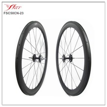 Price competitive China carbon track bike wheels 700C 50mm deep single speed bicycle wheels , Novatec track hub Pillar spokes