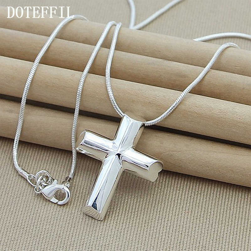 Genuine 925 Silver Color Cross Necklace Fashion Jewelry Pendant Sanke Chian Necklace Hot Sale
