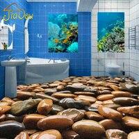 Custom Floor Wallpaper 3D Stereo Cobblestone PVC Floor Paintings Living Room Bedroom Bathroom Self Adhesive Waterproof