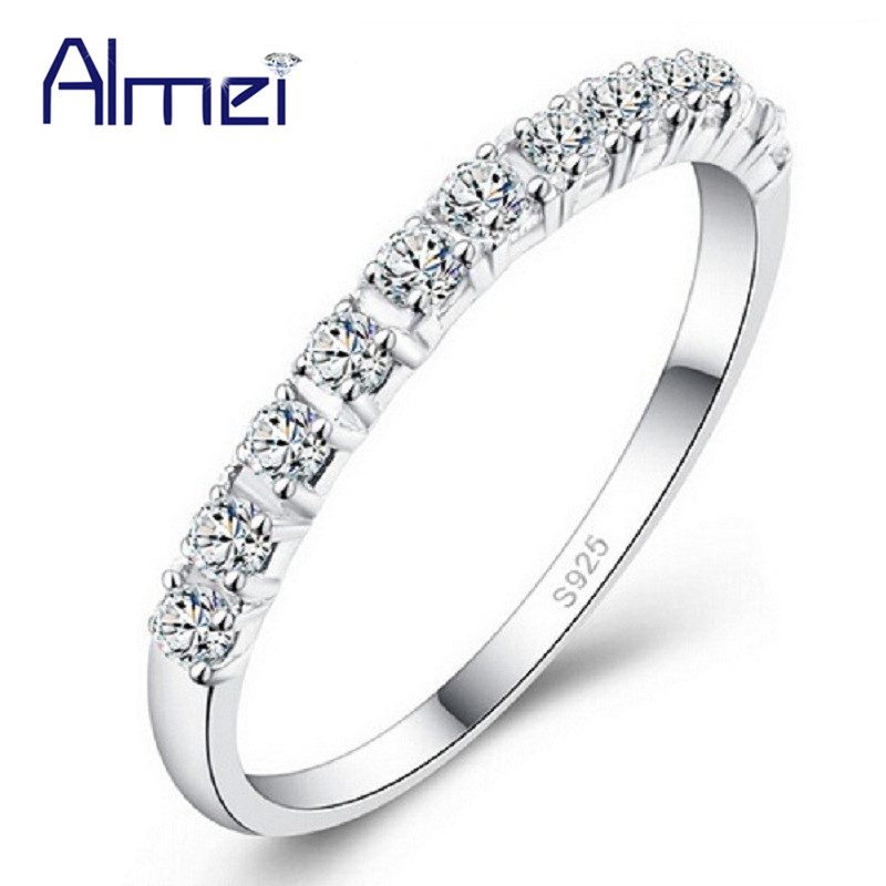 Almei Wedding Band Rings for Women Silver Color Ring Jewelry With Pink Purple Crystal Stones Bijouterie Bijoux Femme Gifts J029