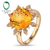 Солнце Форма кольцо цитрин 12 мм Круглый 7.05ct цитрин 14 К желтого золота Обручение кольцо
