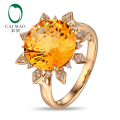 Sun Shape Citrine Ring! 12mm Round 6.98ct Citrine 14K Yellow Gold Engagement Ring