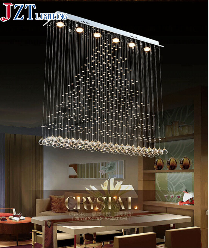 ZYY Rectangle Crystal Pendant Lamp  LED Curtain Chandelier Pyramid Hanging Wire Lighting Living Room Dining Room Foyer Lamp 3 led bulbs l24 x w8 x h23 6 crystal chandelier pendant lamp raindrop hanging suspension light lighting