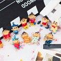 12 unids/lote Mini Crayon Shin Chan Acción y Del Juguete Figuras, 3 cm pvc crayon shinchan colgante figura juguetes para los niños, Anime Brinquedos