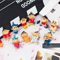 12pcs/lot Mini Crayon Shin Chan Action & Toy Figures, 3cm PVC Crayon Shinchan Pendant Figure Toys For Children, Anime Brinquedos