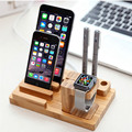 Retro multi-función natural de madera de bambú soporte de carga del muelle horquilla del sostenedor del soporte del teléfono para iphone6 para apple watch cl200