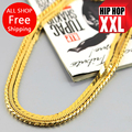Alta calidad del envío 100% 24 K plateado oro verdadero 76 cm cadena con eslabón cubano Hip hop hiphop hombres collar de chris brown mismo diseño