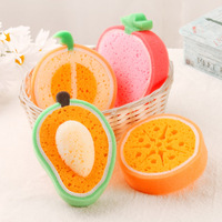2pcs Bag Sponge Cleaning Pad Cute Fruits Dishcloth Dish Washing Wiping Cloth Kitchen Accessaries Home Decals