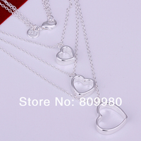 925 чистое серебро ювелирные изделия ожерелье. три постепенно большой в форме сердца подвески. ювелирные изделия / хороший подарок
