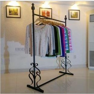 Clothing Hanger Floor Stand Wrought Iron Clothes Rack Store Display