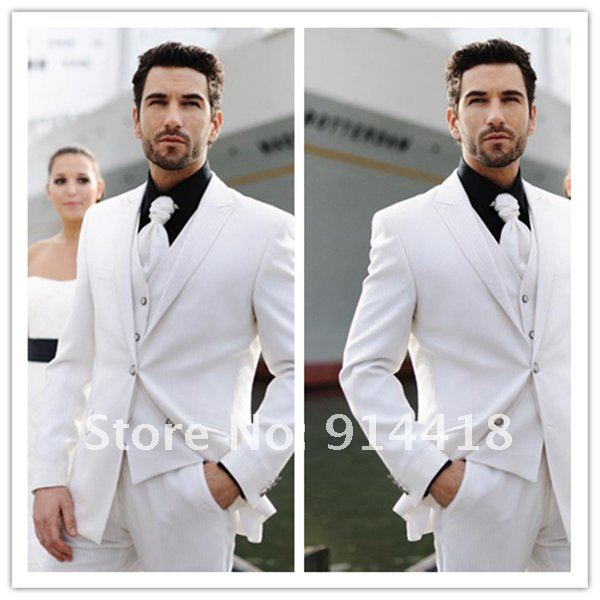 2015 Autumn Winter White Men\'s Wedding Suit Customize Cheap ...